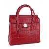 Червена кожена чанта с цип отпред