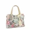 Чанта с цветя от естествена кожа
