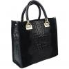 Черна кожена чанта, кроко и велур