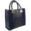Тъмно синя  кожена кроко чанта и велур