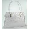 Сребристо бяла кожена чанта