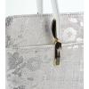 Дамска сребристо бяла естествен кожа чанта