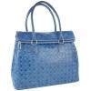 Дамска кожена чанта в синьо