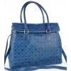 Дамска чанта от естествена кожа в синьо