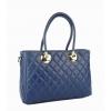 Дамска чанта от естествена кожа в тъмно син цвят