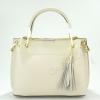 Дамска кожена чанта в бежов цвят