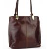 Дамска кожена чанта раница в цвят шоколад