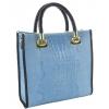 Дамска чанта в кроко щампа и естествена кожа