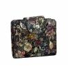 Пъстро дасмко портмоне от естествена кожа с флорални мотиви