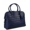 Чанта от естествена кожа в тъмно син цвят