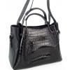 Стилна дамска кожена чанта в черно