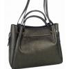 Дамска кожена чанта черен мат