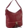 Дамска кожена чанта в тъмно червен цвят