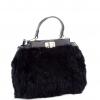 Черна чанта с естествен косъм