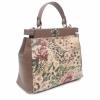 Чанта от естествена кожа с флорални мотиви