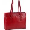 Кожена дамска чанта в тъмно червен цвят