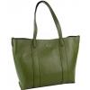 Кожена чанта в маслено зелен цвят