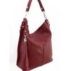 Кожена чанта-торба в цвят бордо