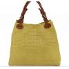 Жълта кожена чанта