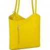 Кожена чанта-раница в жълт цвят