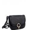 Черна малк чанта с капак от еко кожа