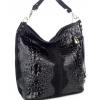 Дамска чанта с кроко щампа в черно