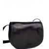 Чанта от естествена кожа за през рамо, черна