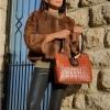 Дамска кожена чанта камел