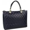 Тъмно синя кожена чанта на вафлички