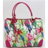Дамска кожена чанта с флорални мотиви и папагали