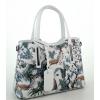 Чанта от естествена кожа с пауни в бял цвят