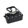 Черна кожена чанта с перли