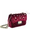 Мини чанта от плюш в цвят бордо